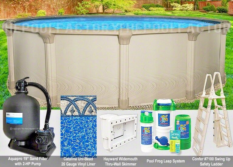 24 39 Round 54 Premium Above Ground Swimming Pool Package Huge Resin Top Ebay
