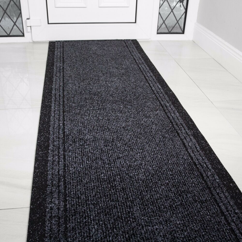 Black And White Rug Ebay Uk: Grey Black Rubber Backed Very Long Hallway Hall Runner
