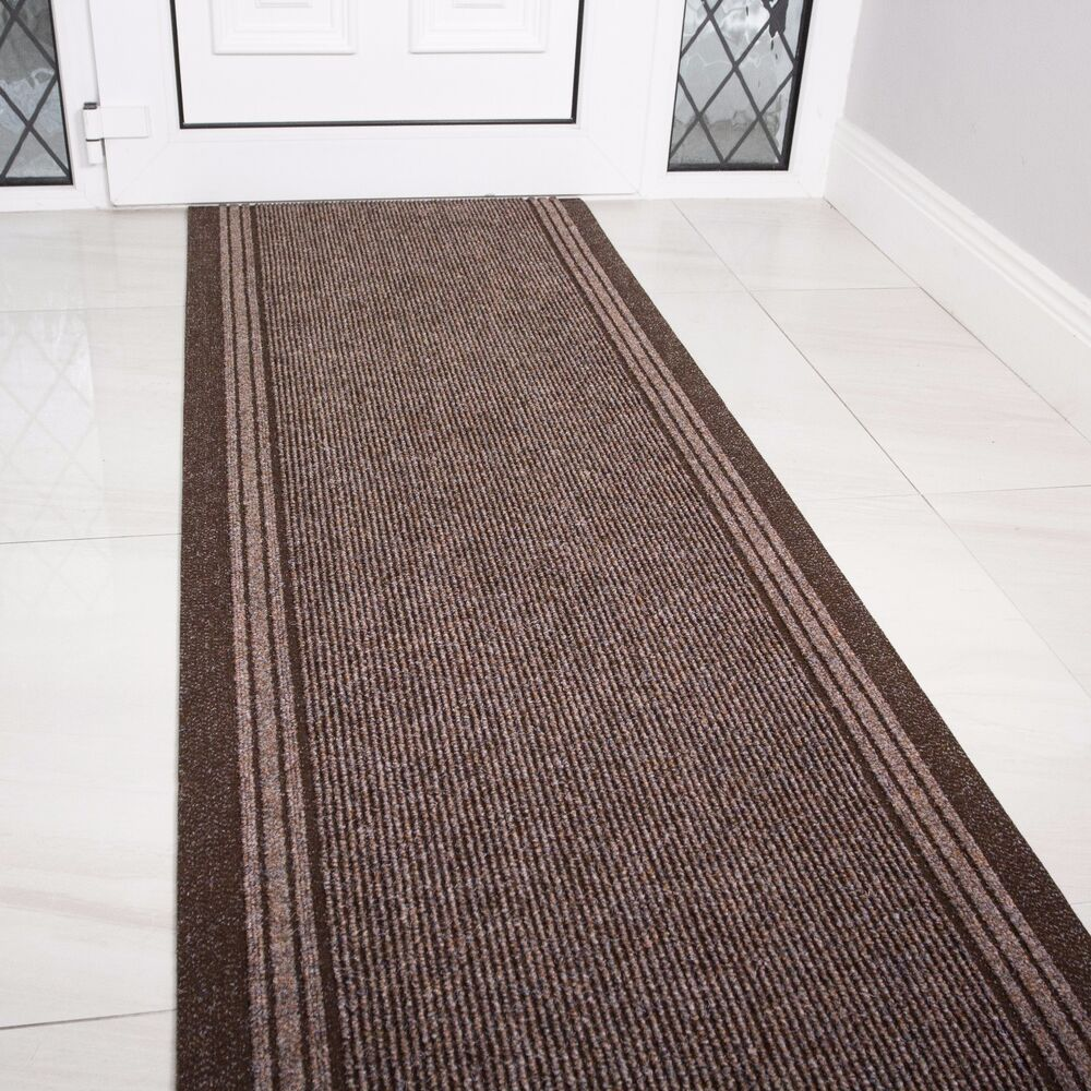 Runner Rugs Hallway: NEW Brown Rubber Backed Very Long Hallway Hall Runner