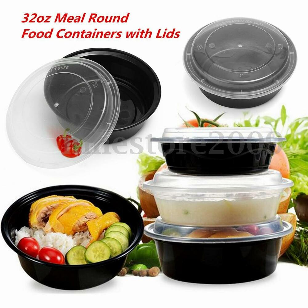 32oz round food storage containers set 10 microwave plastic meal prep bpa free ebay. Black Bedroom Furniture Sets. Home Design Ideas