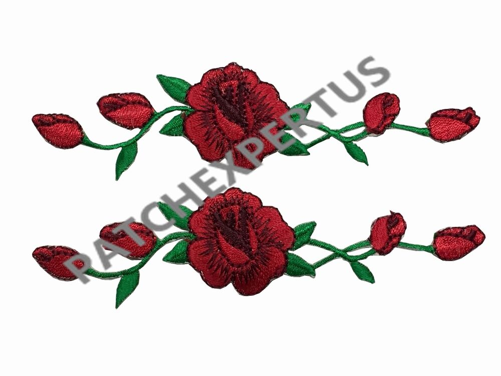 R lot pcs red rose flower embroidery