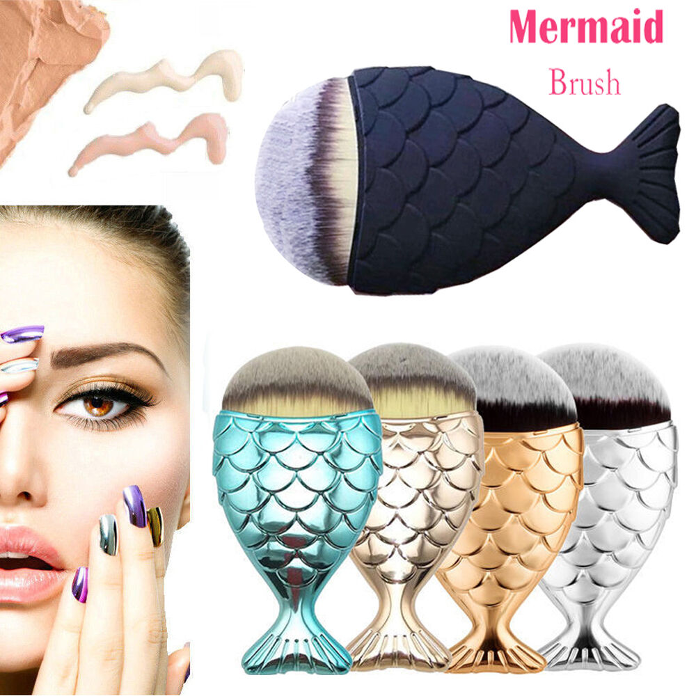 New cosmetic mermaid fish scale makeup brush fishtail for Fish tail brush