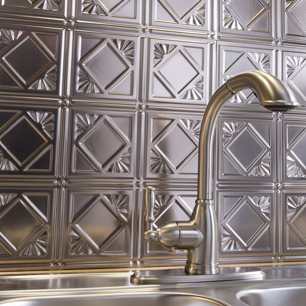 Kitchen Wall Tile Backsplash: Kitchen Backsplash Silver Decorative Vinyl Panel Wall