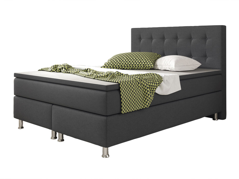 boxspringbett k ln bett hotelbett designerbett 140x200 cm anthrazit webstoff 4260465765937 ebay. Black Bedroom Furniture Sets. Home Design Ideas