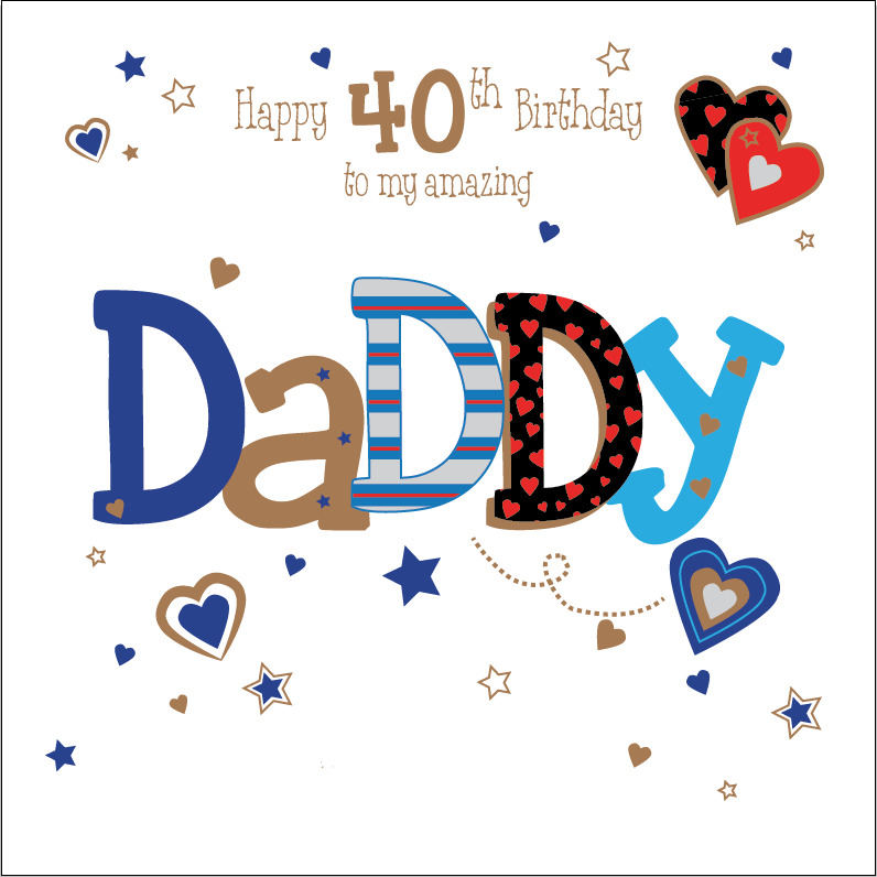 40th 50th 60th Birthday Gifts For Husband Dad Grandad: Personalised 40th Birthday Card Daddy Dad Husband