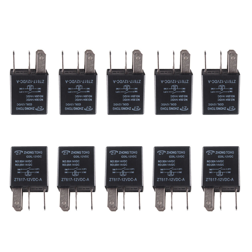 10pcs 30a Amp 12v 4pin Car Truck Relay Kit For Electric