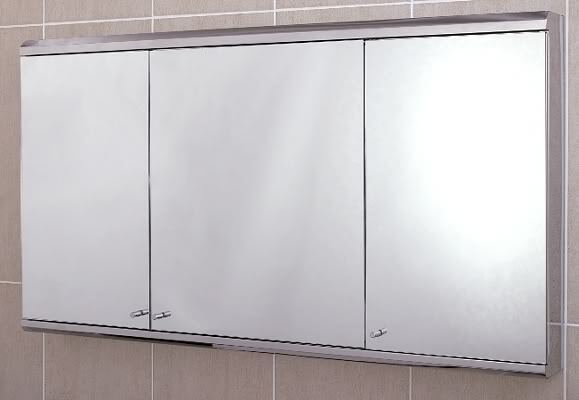Illumine Dual Stainless Steel Medicine Cabinet With Lighted Mirror: Stainless Steel Bathroom Cabinet Wall Mounted Triple Door
