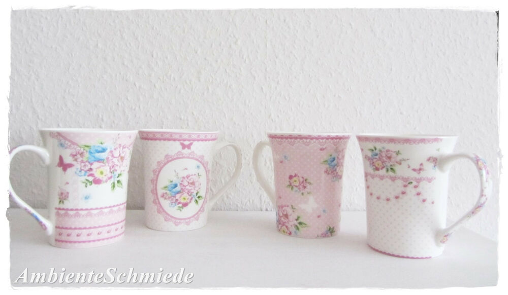 set 4x kaffeetasse rosen kaffeebecher tasse rosa pink blau pastell blumen shabby ebay. Black Bedroom Furniture Sets. Home Design Ideas