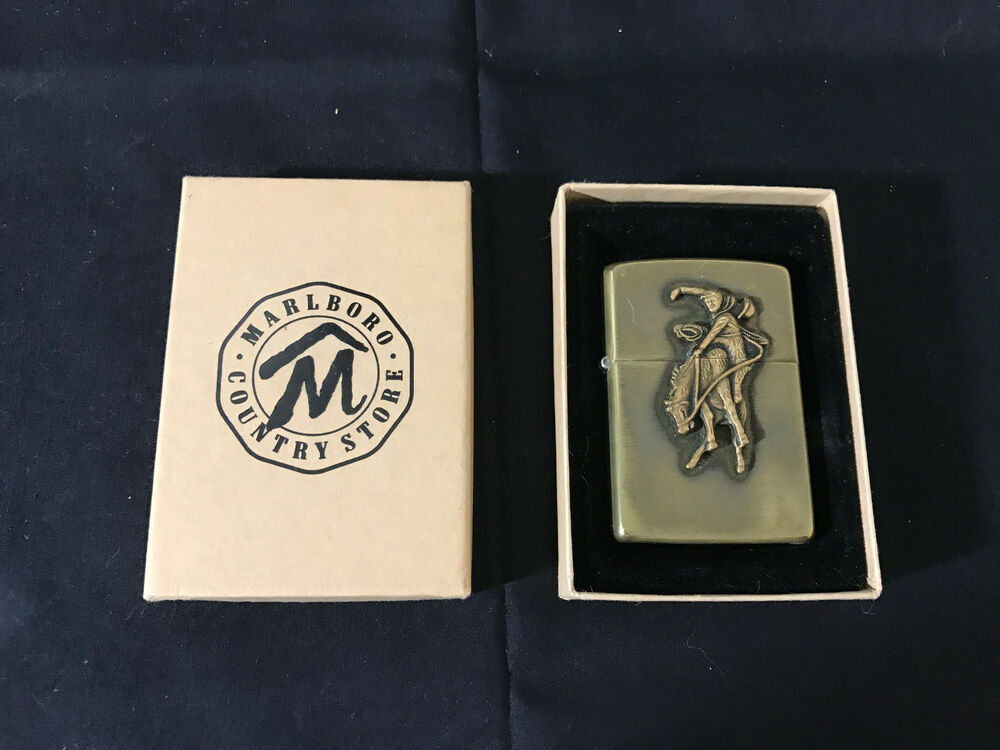 1994 Brass Marlboro Zippo Cigarette Lighter In Box Cowboy on Horse | eBay