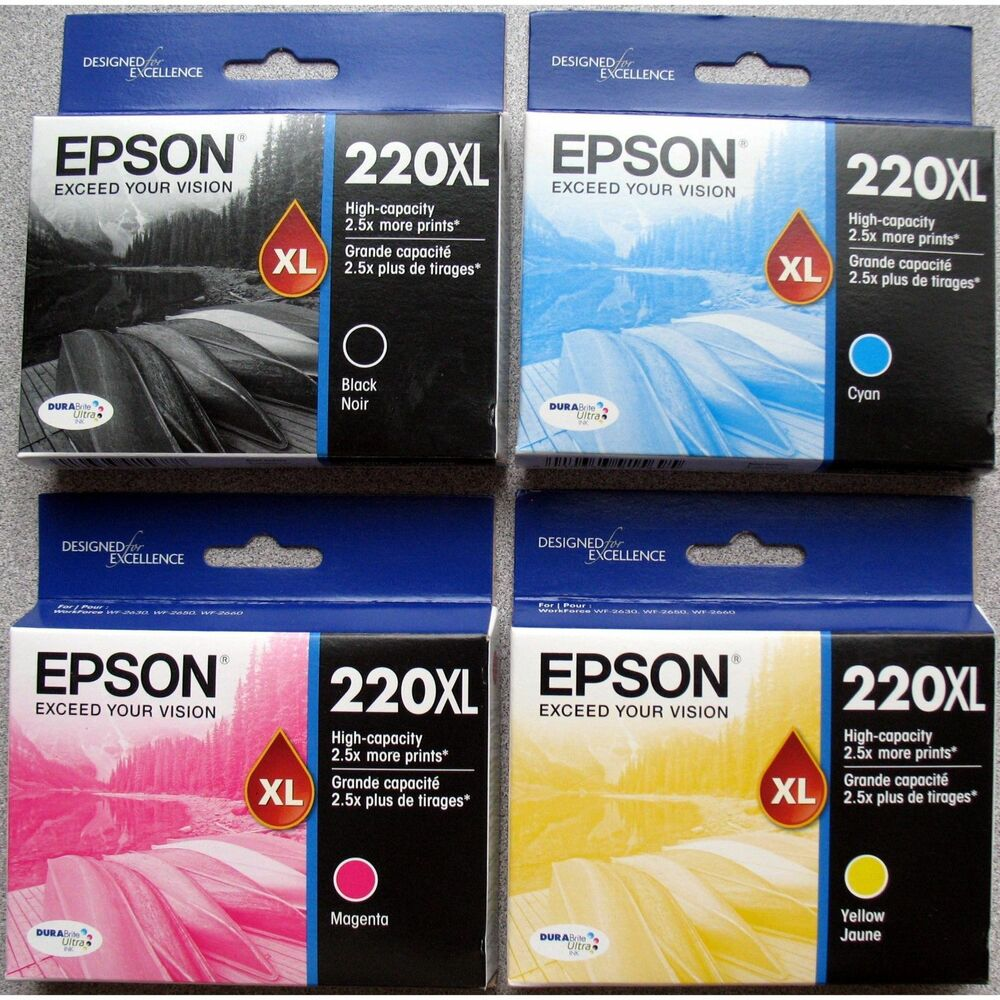 2017 GENUINE Epson 220 Inks Full Set 220XL Black Color WF