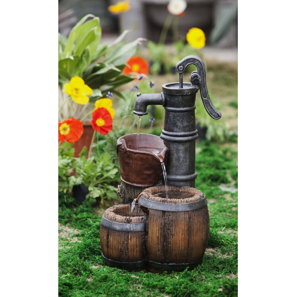 Waterfall fountain old water pump design outdoor garden for Waterfall home decor