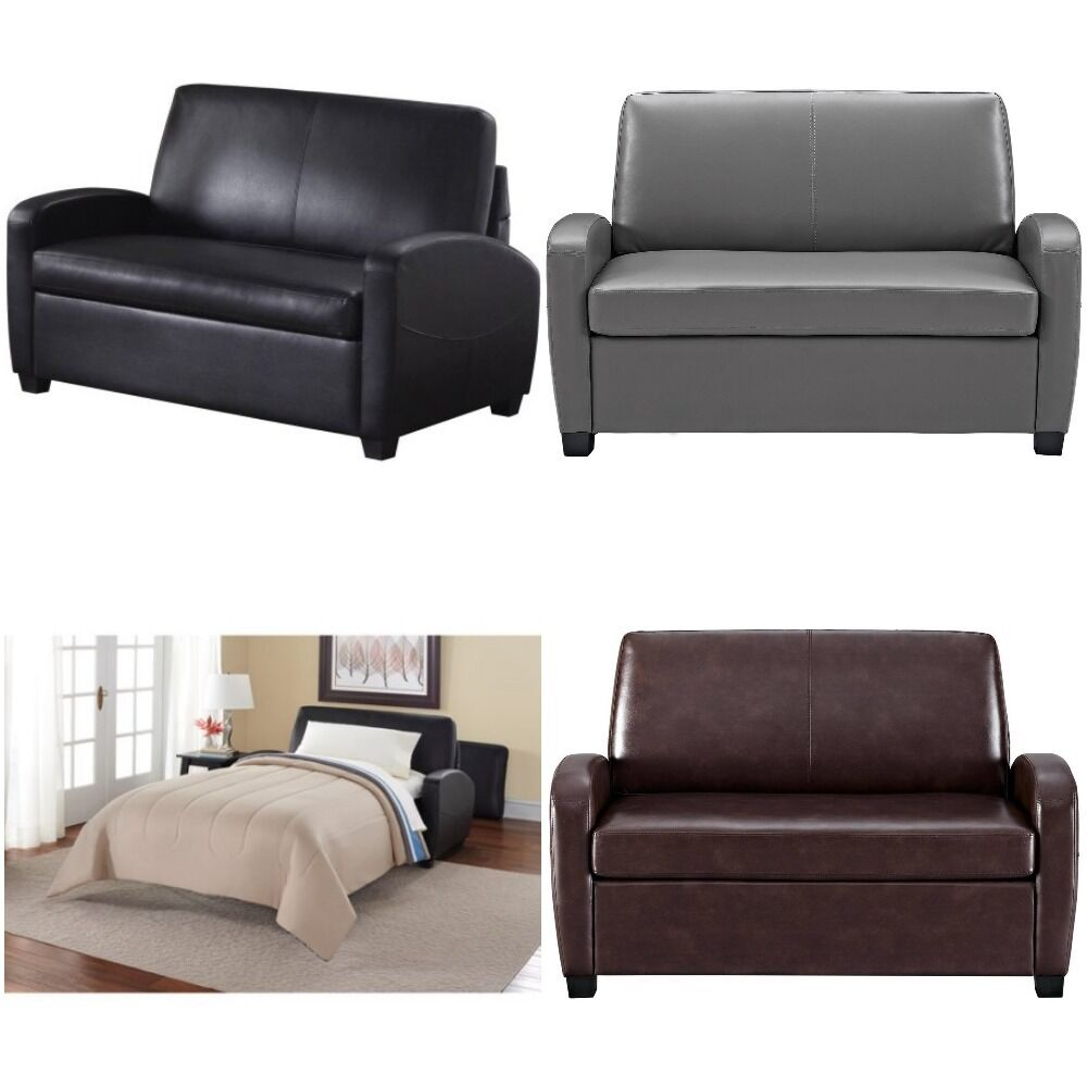 Sofa sleeper convertible couch loveseat leather bed for Black and grey couch