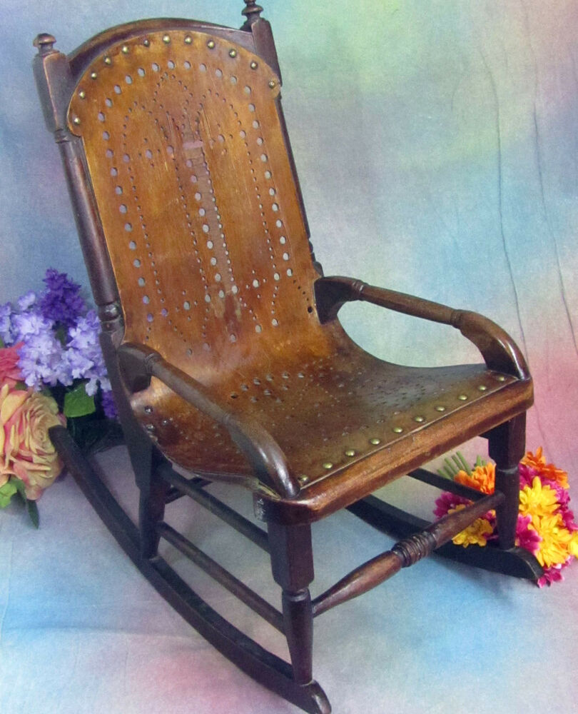 Antique Child S Rocking Chair Doll Rocker Pierced Bent