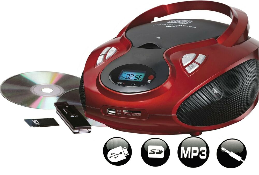 tragbares stereo radio mit cd mp3 player usb sd card. Black Bedroom Furniture Sets. Home Design Ideas