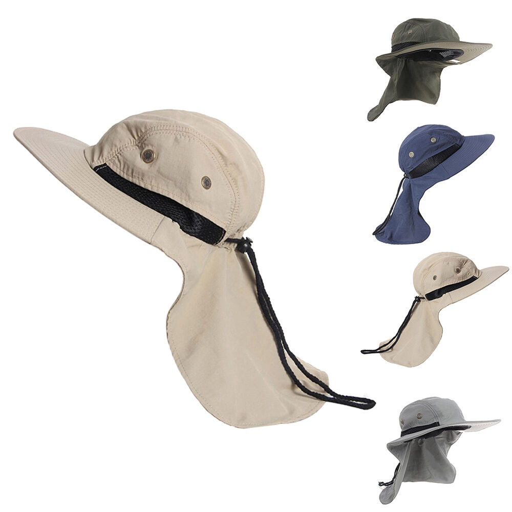 Outdoor fishing hiking boonie hunting snap hat brim ear for Fishing neck cover