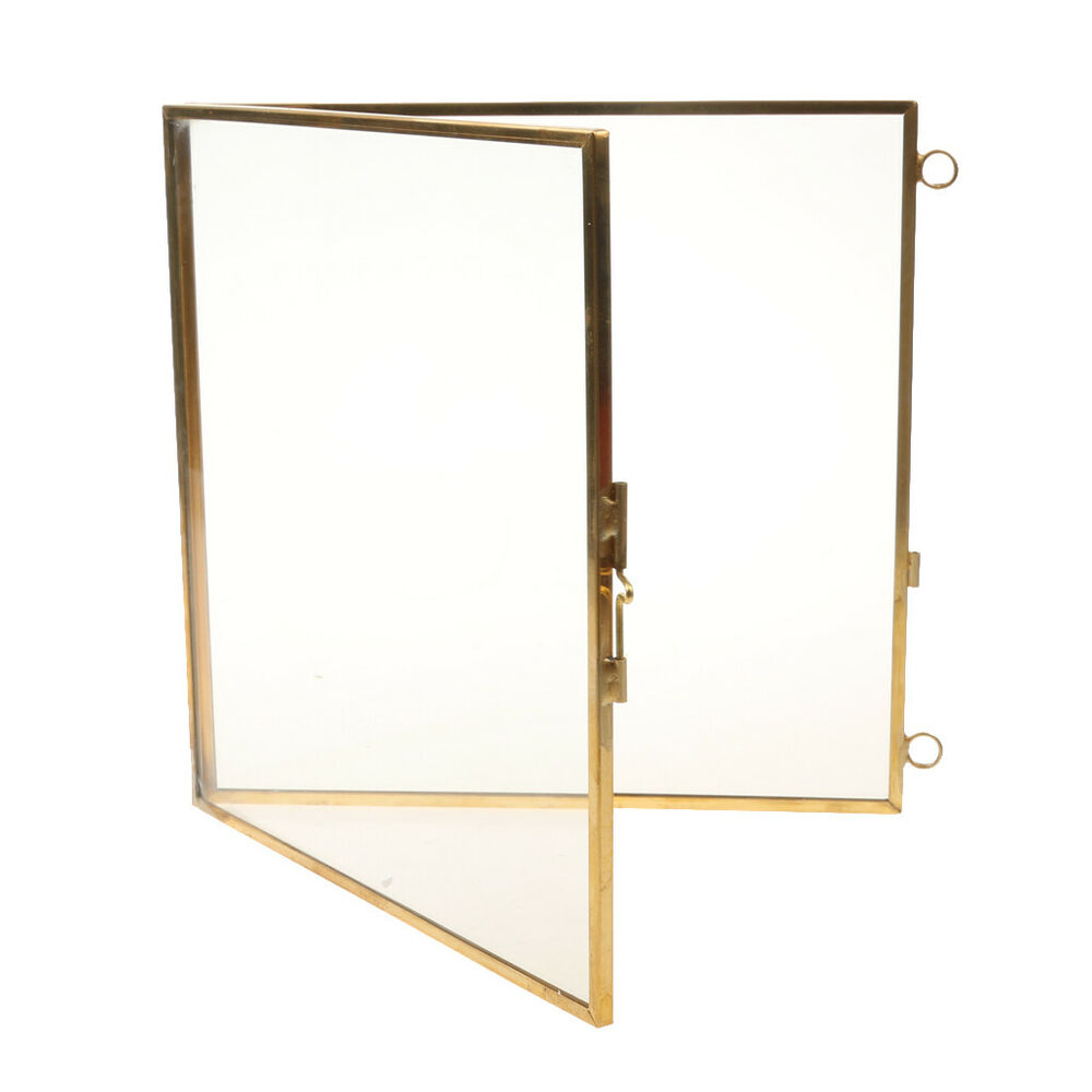 Antique Brass Glass Picture Photo Frame Retro Hanging