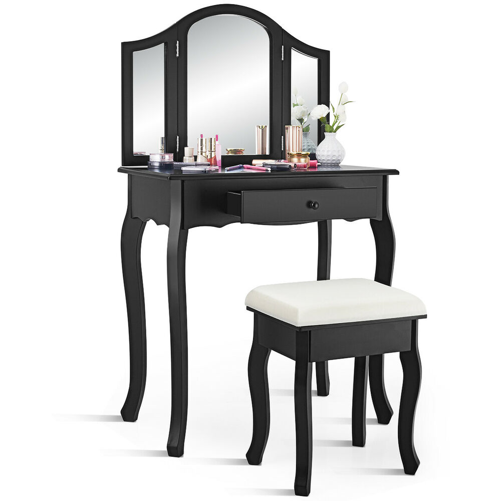 Black tri folding mirror vanity makeup table set bathroom for Black makeup table with mirror