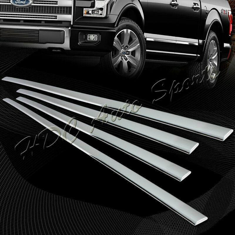 For 2015 2017 ford f150 4 door chrome abs plastic body side moldings trim 4pcs ebay for Ford f 150 exterior accessories