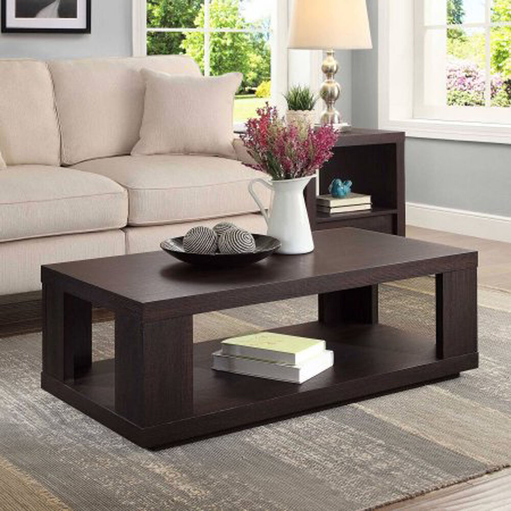 Coffee Table With Storage Bottom Shelf Living Room
