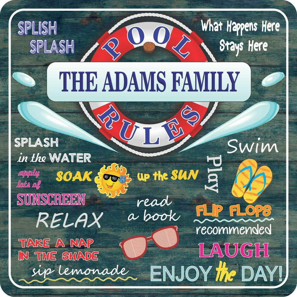 Swimming Pool Plaques Signs Wall Decor: Personalized Swimming Pool Rules Sign With Summer Quotes