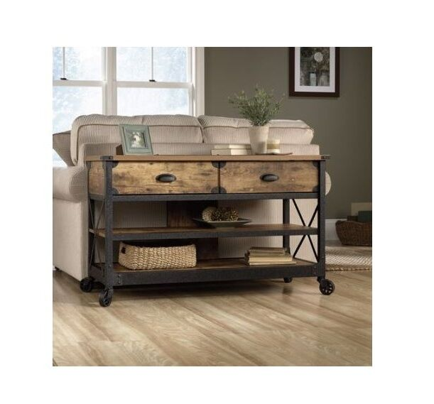 Industrial Sofa Table With Wheels Rustic Console 2 Drawers