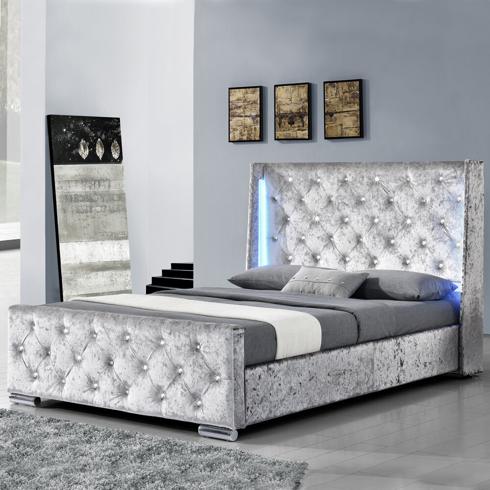 modern silver crushed velvet bed frame with led lights. Black Bedroom Furniture Sets. Home Design Ideas
