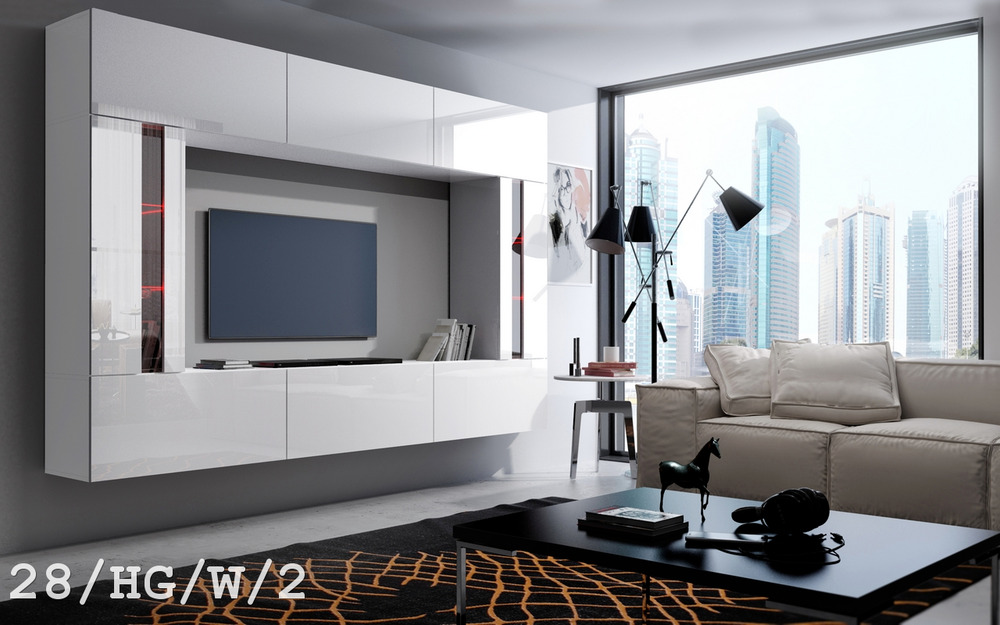 moderne wohnwand future 28 hochglanz tv schrank led beleuchtung m bel wohnzimmer ebay. Black Bedroom Furniture Sets. Home Design Ideas