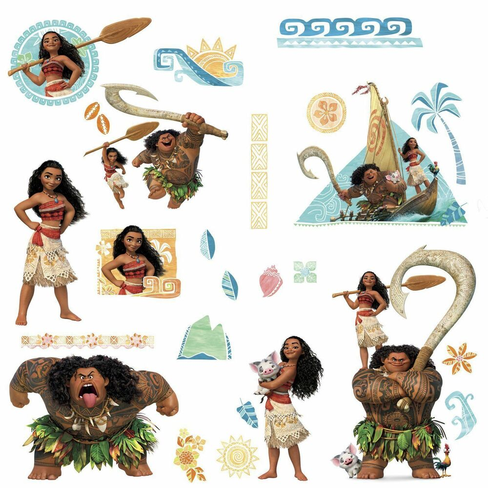 28 Disney Moana Amp Maui Wall Decals Peel Amp Stick Stickers