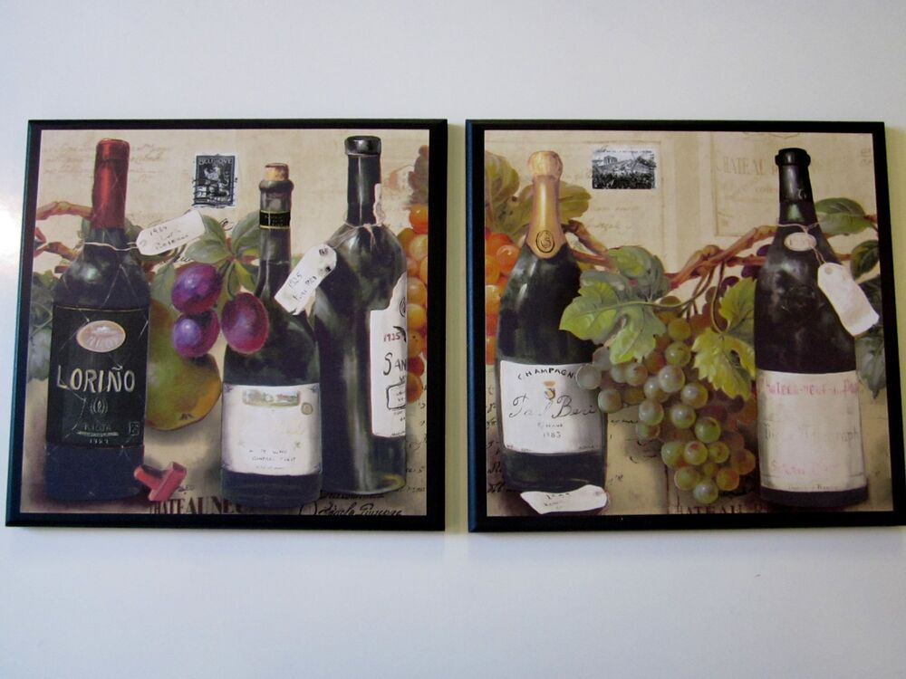 Wine bottles grapes kitchen wall decor 2 plaques italian for Wine shop decoration