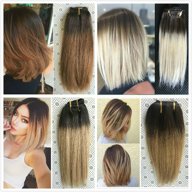 Clip in hair extensions ebay 10 straight short full head clip in human hair extensions dip dye ombre remy pmusecretfo Image collections