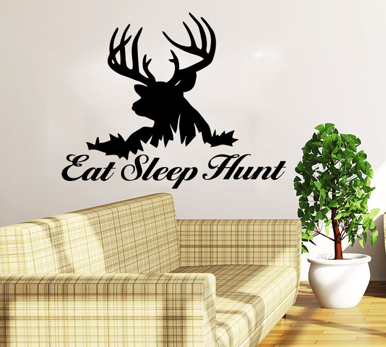 Deer Hunting Wall Decal Quote Eat Sleep Hunt Home Decor