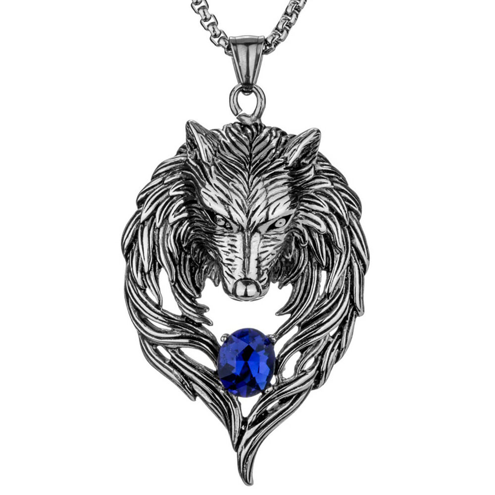 wolf necklace pendant stainless steel him