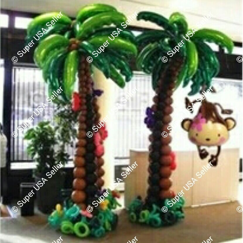 Diy tropical luau palm tree balloon hawaiian decor beach for Advanced molding and decoration s a de c v