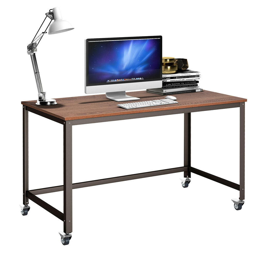 Rolling computer desk metal frame pc laptop table wood top for Metal desk with wood top