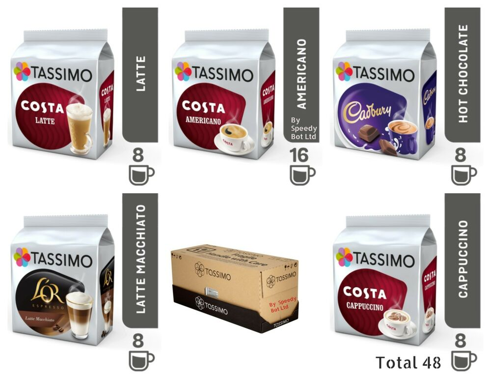 tassimo t discs refill pods costa coffee latte cappuccino americano cadbury 48 ebay. Black Bedroom Furniture Sets. Home Design Ideas