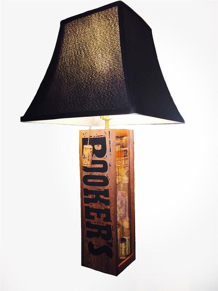 table lamp bourbon booker 39 s theme black square bell shade ebay. Black Bedroom Furniture Sets. Home Design Ideas