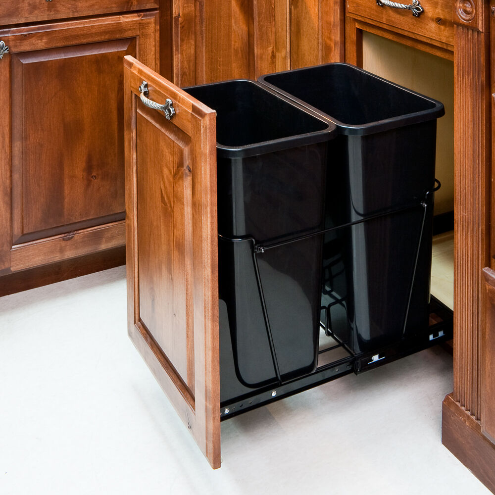 Double 35 Quart Black Trash Can Pull Out System With 2 Cans And Doorkit Ebay