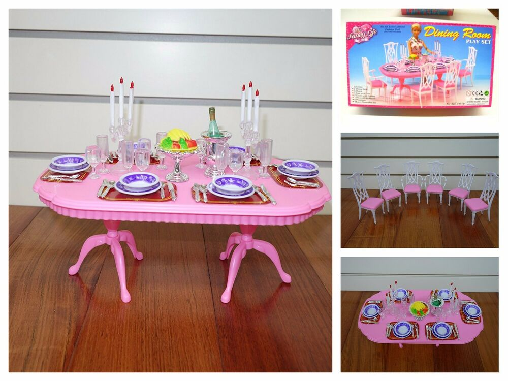furniture play set barbie size dollhouse dining room pink doll chair table ebay. Black Bedroom Furniture Sets. Home Design Ideas