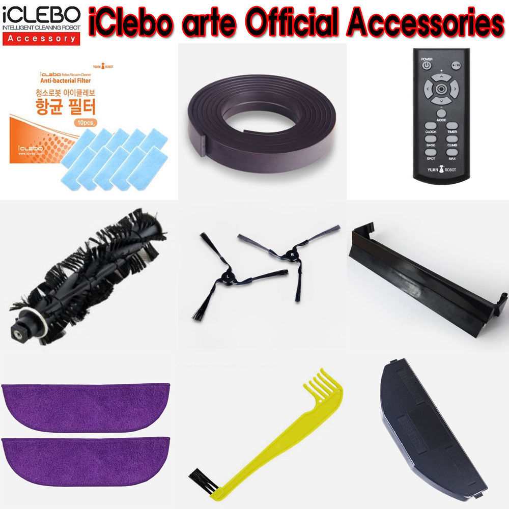 iclebo arte official accessories hepa filter side brush main role brush ebay. Black Bedroom Furniture Sets. Home Design Ideas
