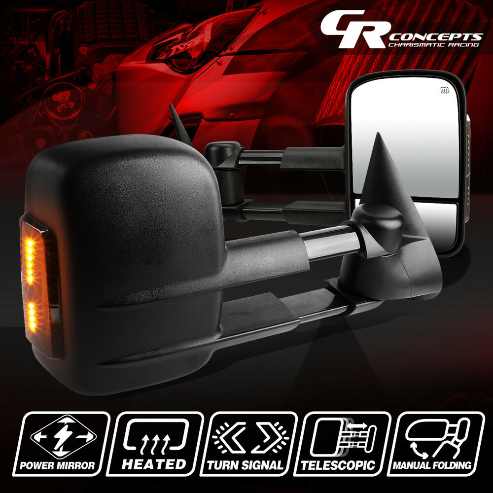 Powered Heat Led Smoked Light Rear View Towing Side Mirror