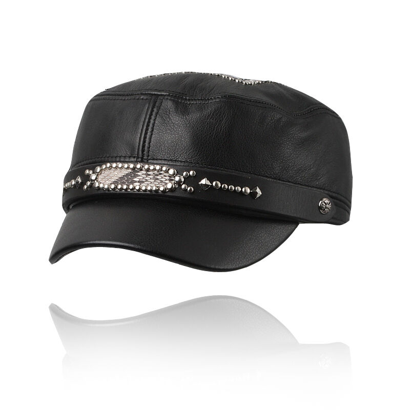 3d893a1b53d Details about Biker hat Genuine leather cap Motorcycle cadet military black  H28 BIKELIST