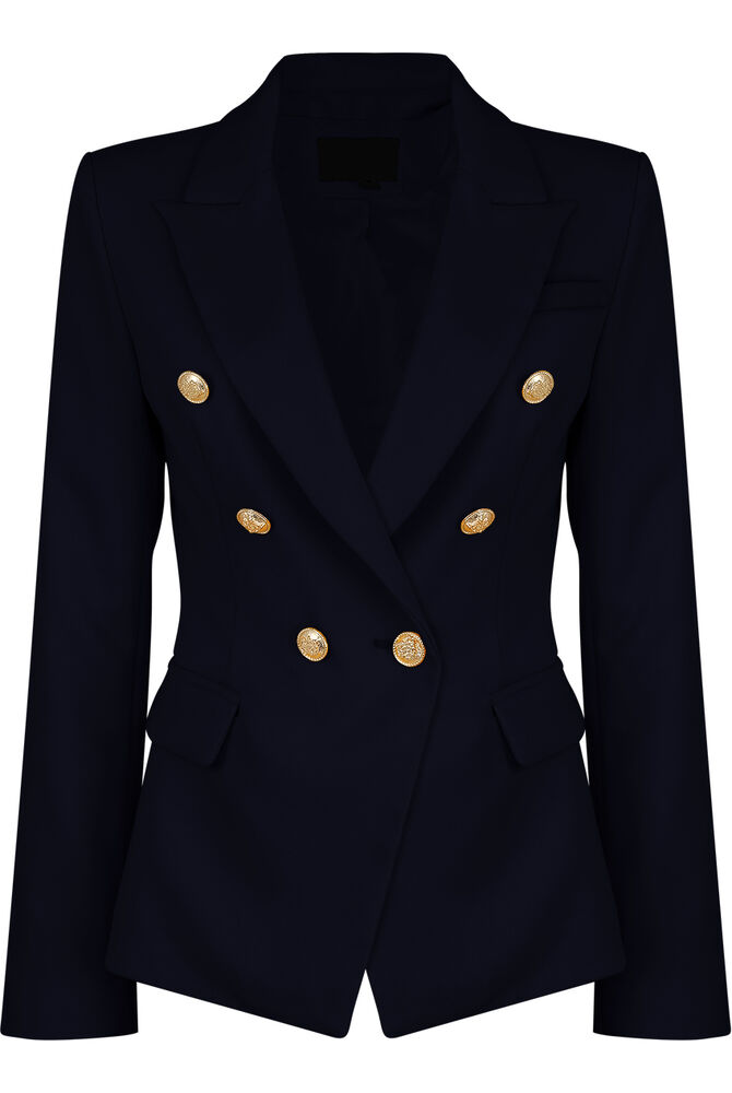 Double Breasted Gold Button Military Style Navy Blue Blazer Ladies ...