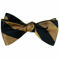 "New! Hand Made. 100% Silk. NAVY & GOLD Stripes SELF TIE Bow Tie.  2.5"" wide."