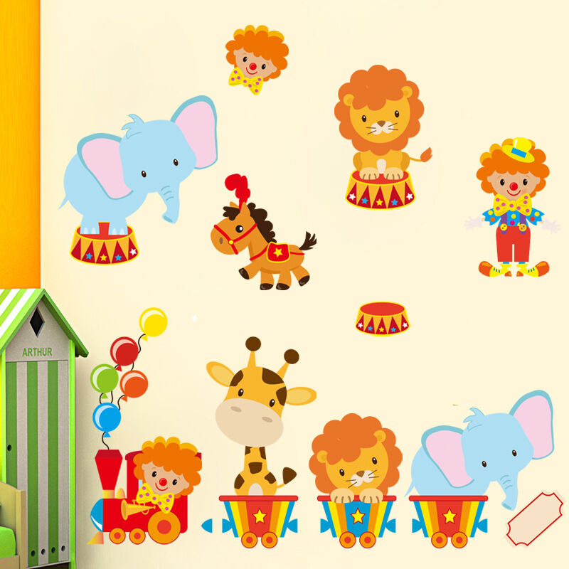 wandtattoo tiere zirkus l we wandaufkleber sticker kinderzimmer baby tapete deko ebay. Black Bedroom Furniture Sets. Home Design Ideas