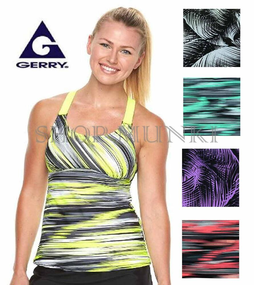 Gerry womens athletic tankini swimsuit top with built in for Swim shirt with built in bra