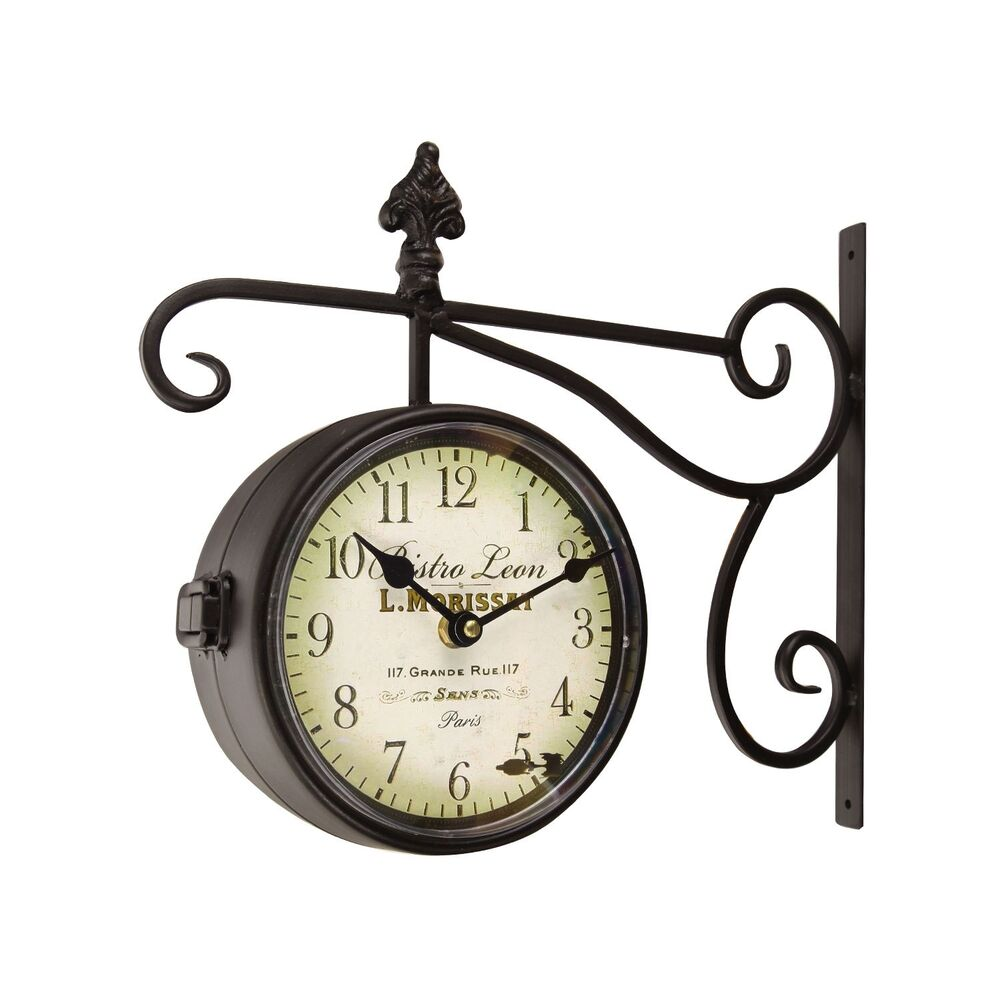 black iron round double sided wall hanging clock with