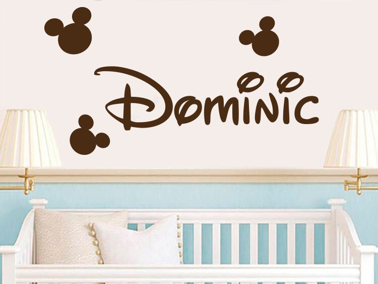 boys name wall decals mickey mouse vinyl sticker baby boy name