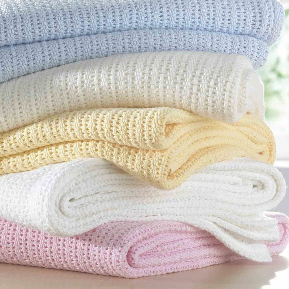 New 100 Cotton Baby Cellular Blanket Pram Cot Bed Moses