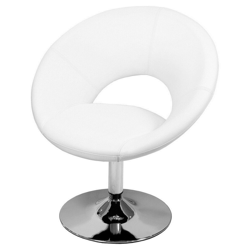 White Swivel Chair Pod Seat Faux Leather Metal Chrome
