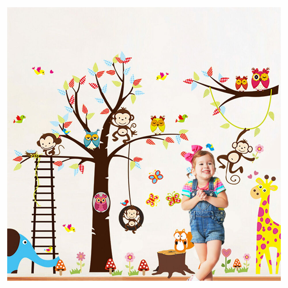 wandtattoo wandsticker wandaufkleber kinderzimmer baum tiere baby xxl wald w1381 ebay. Black Bedroom Furniture Sets. Home Design Ideas